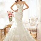 New Custom Made High Quality Sexy Beads Sweetheart White Ivory Long Mermaid Lace Wedding Dress