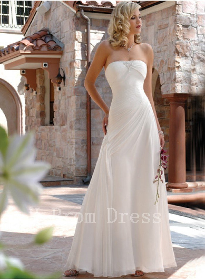 2016 Plus Size Hot Sale Fashionable Strapless White Cheap Long Girl A-Line Wedding Dress