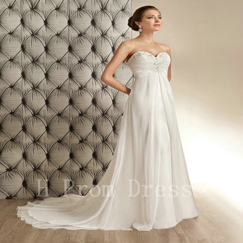 Wedding Dress Pearls Chiffon Sexy A-Line Backless Fashion Cheap Floor Length Wedding Dress