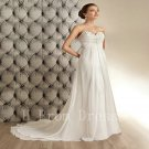 Wedding Dress Pearls Chiffon Sexy A-Line Backless Fashion Cheap Floor Length Wedding Dress
