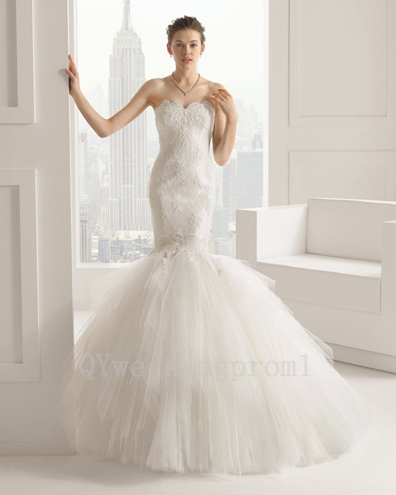 New High Quality Custom Made Long White Tulle Wedding Dress Mermaid Appliques Bride Ball Gowns
