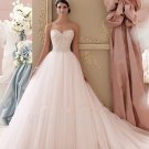 Tulle A-Line Sweetheart Beaded Bride Dresses Crystals Champagne Romantic Long Wedding Dress