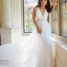 Custom Made Long Backless Wedding Dress Sexy V-neck Romantic Tulle White A-Line Bridal Dress