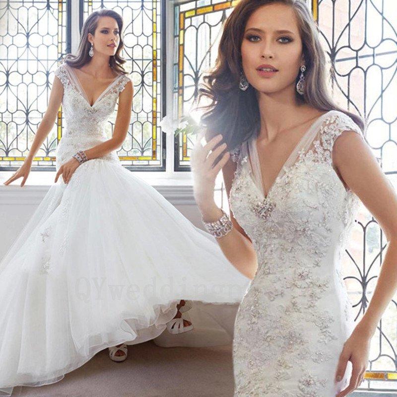 Sexy V-neck Mermaid Backless Wedding Dress Fashion White Ivory Plus Size Long Wedding Dress