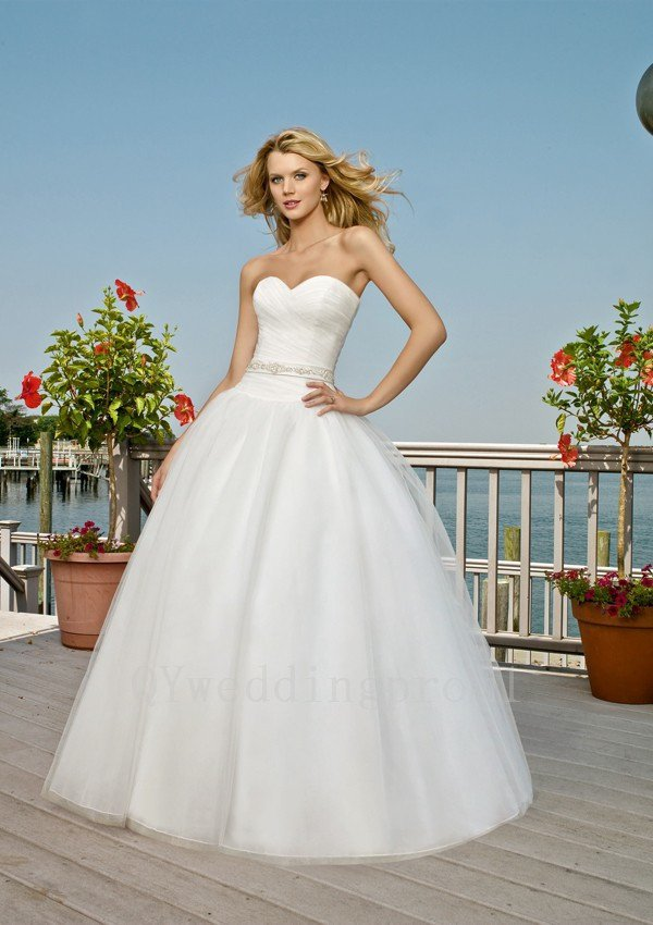 Hot Sale High Quality Sweetheart Ball Gown Backless Bridal Dress Fashion White Long Wedding Dress