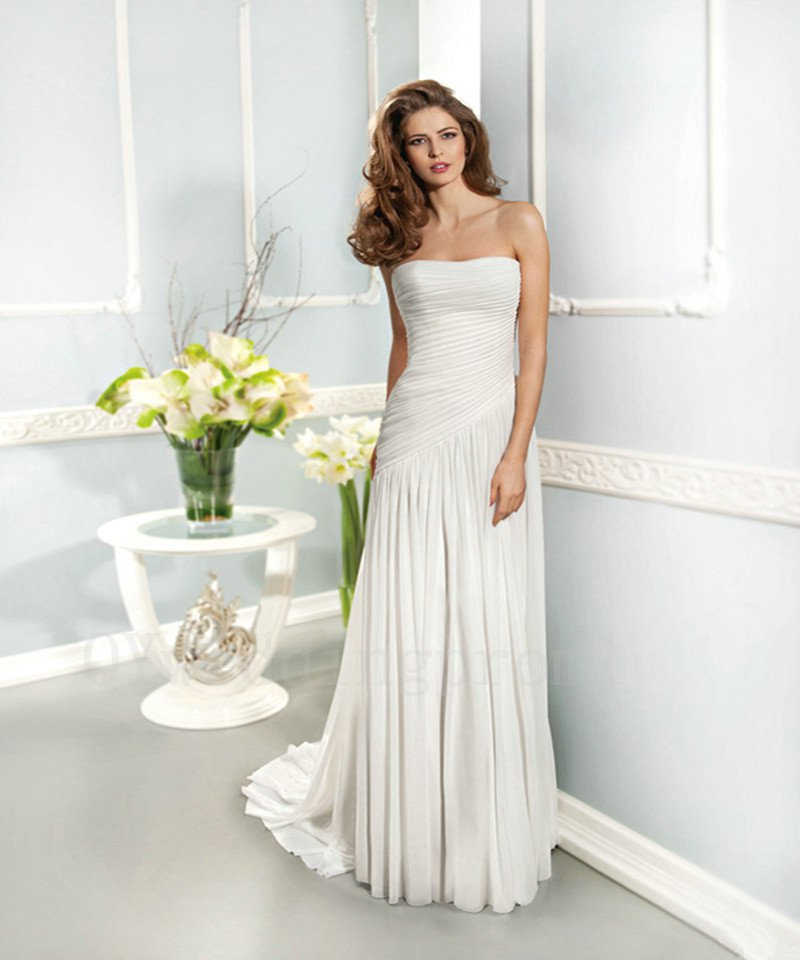 White Long Wedding Dress Chiffon Sexy A-Line Backless Fashionable Floor-Length Wedding Dress