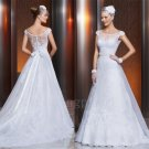 See Through Back White Wedding Dress A-Line Scoop Long Custom Made Lace Cap Sleeve Wedding Dress