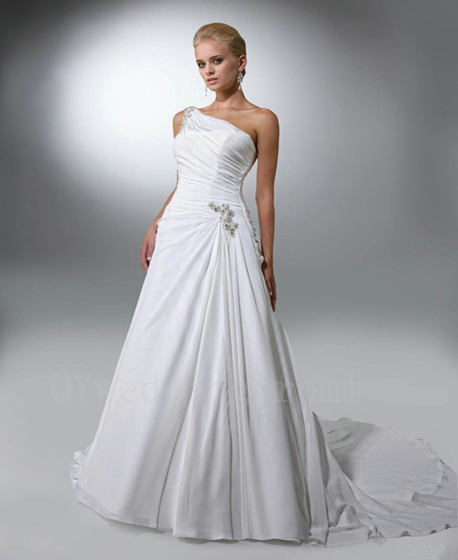 New Romantic Wedding Ceremony Woman Dress Chiffon A-Line One Shoulder White Long Wedding Dress