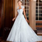 High Quality Long Elegant White Floor-Length A-line Lace Wedding Dress Gowns Beadings Bridal Dresses