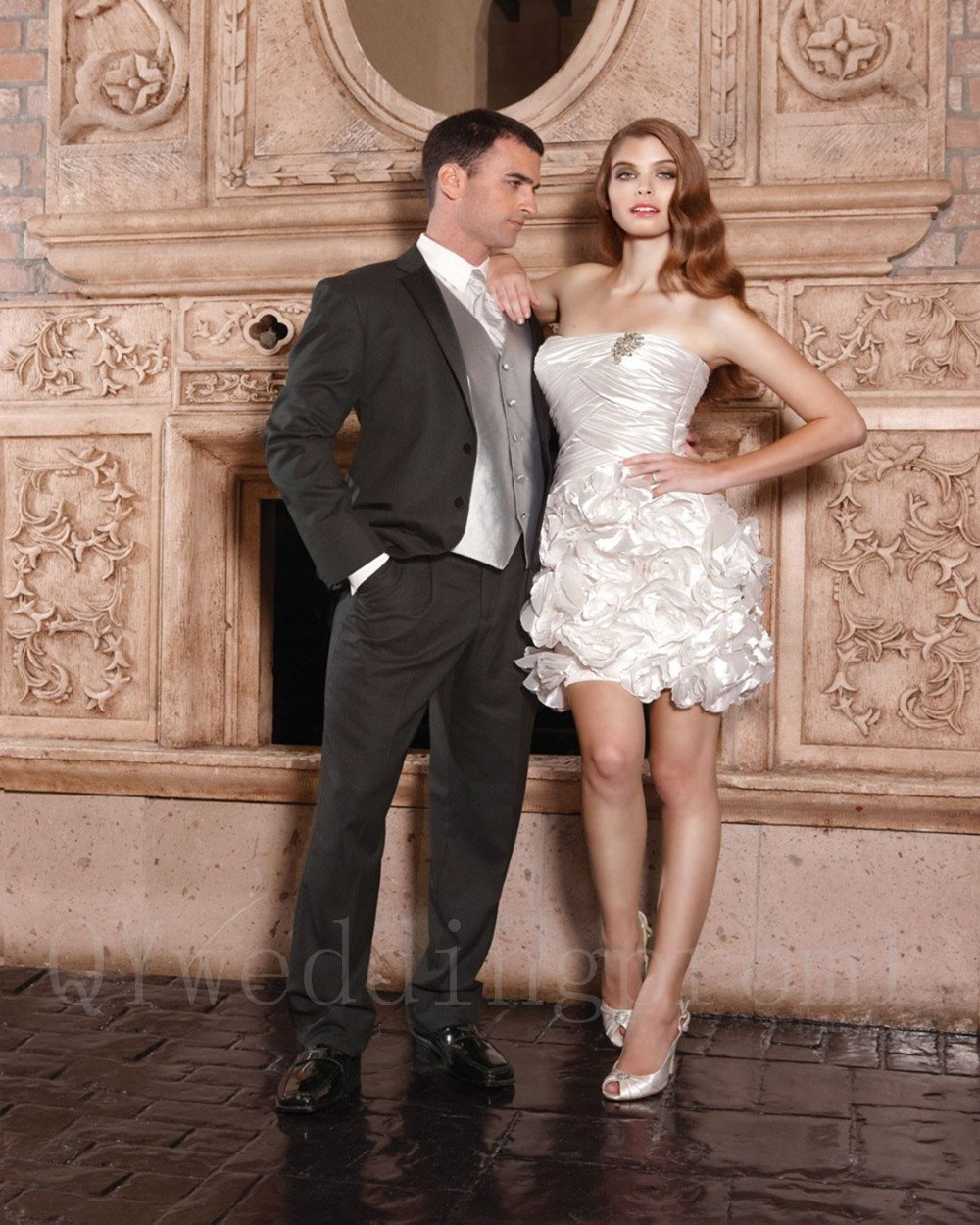 Sexy Short Wedding Dress Pearls A-Line Fashion Cheap White Wedding Dress Fast Shipping