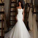New Elegant Sweetheart White Tulle Long Mermaid Lace Up Wedding Dress