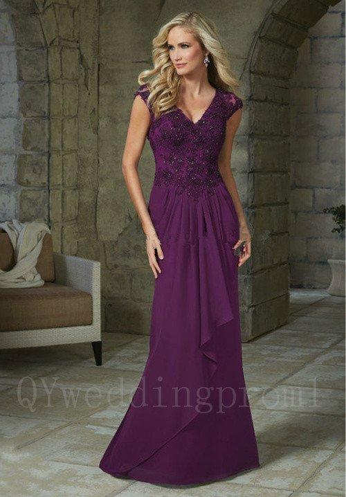 Long Purple Black Chiffon Mermaid Mother Of The Bride Pant Suits Beadings Cap Sleeve Formal Dress