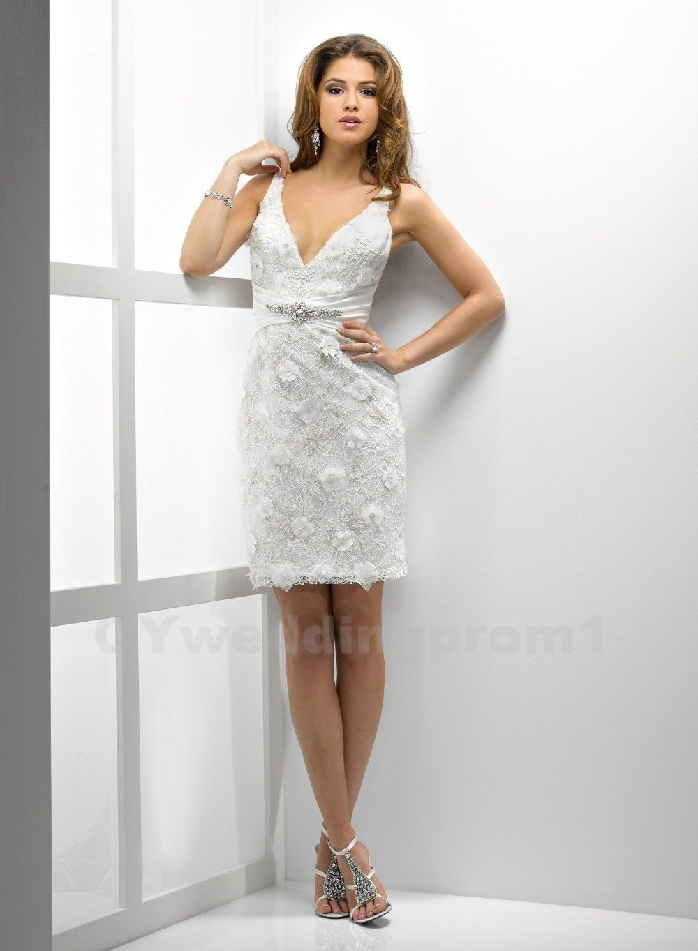 Lace A-Line Wedding Dress Fashionable Beaded Spaghetti Straps White Cheap Short Wedding Dress