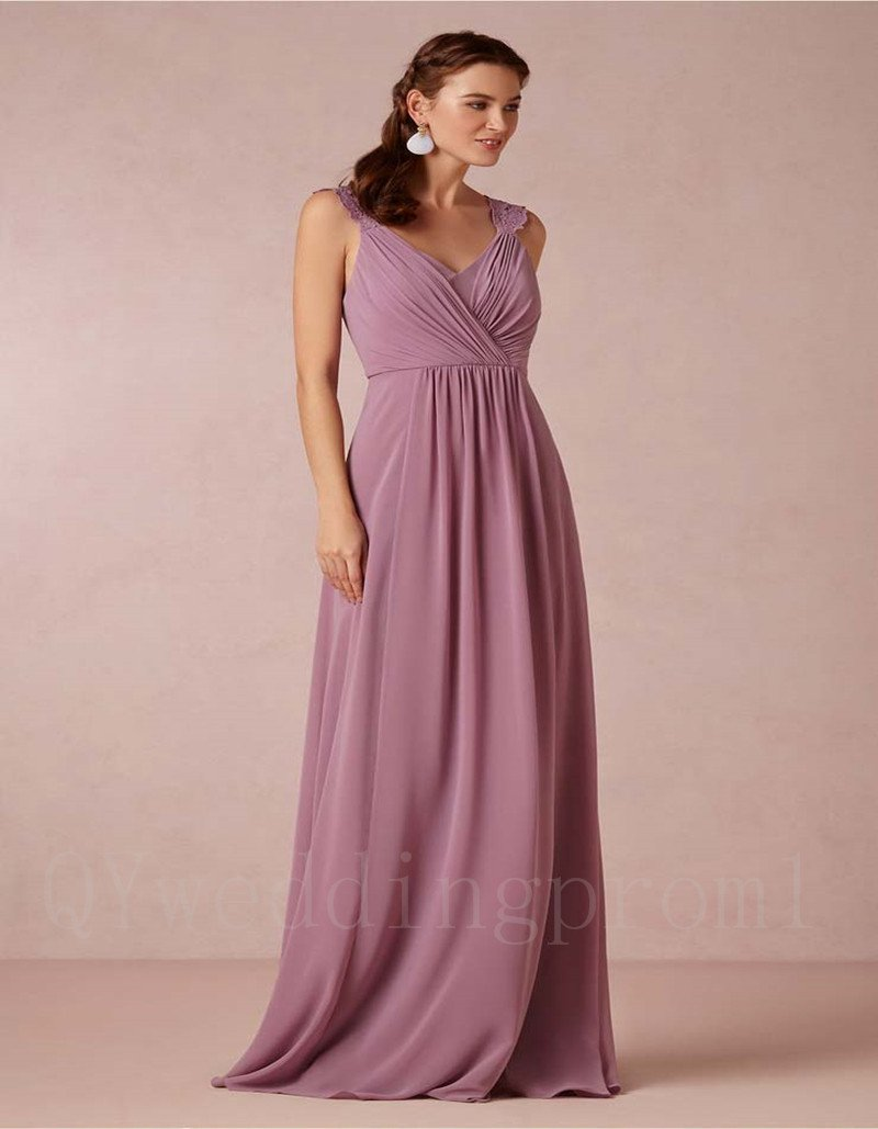 2016 New Long Mother Of The Bride Pant Sexy V-neck Brown Chiffon A-Line Dresses For Wedding