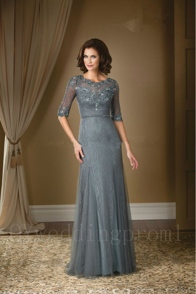 Long Gray Chiffon Mother Of The Bride Pant Suits A-Line Lace Appliques Formal Dresses For Wedding