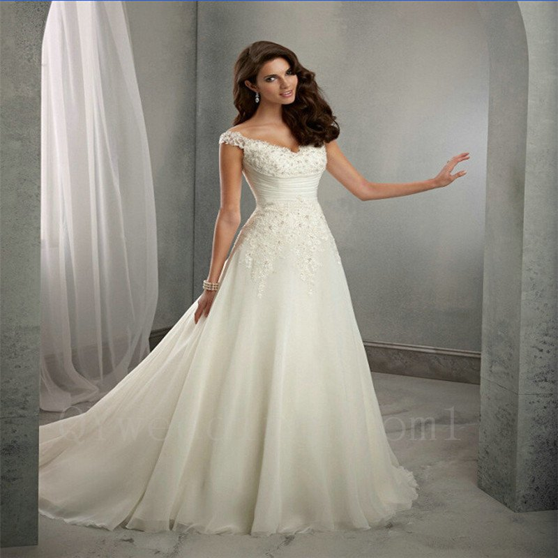A-Line Wedding Dress Sweetheart Cap Sleeve Chiffon Cheap Long Wedding Dress
