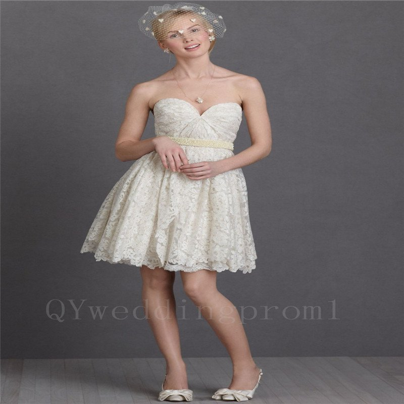 Champagne Short Wedding Dress Romantic Sexy Back Wedding Dress Knee Length Bride Dresses