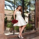 Sexy Short Wedding Dresses Pearls A-Line Fashion White Knee Length Wedding Dress Short With Zipper