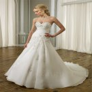 2016 A-Line Wedding Dress Appliques White Backless Fashionable Cheap Floor Length Wedding Dress