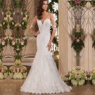 Sexy Backle White Lace Wedding Dress Floor Length Mermaid Wedding Dress Gowns