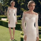 Lace Wedding Dress White Knee-Length Short Sheath Wedding Dress Women Zipper Dresses