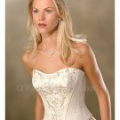 Wedding Dress Embroidery Strapless Satin Sleeveless Fashionable Backless White Long Wedding Dress