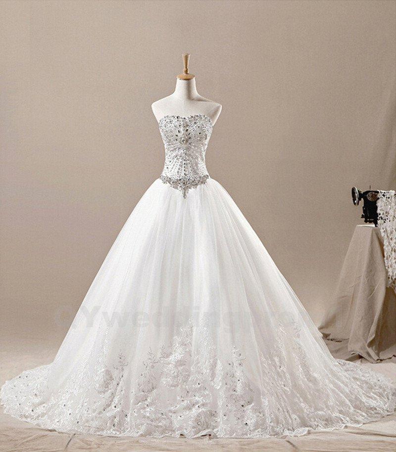 Elegant Wedding Dress Crystals Beads Sweetheart A-Line White Lace Wedding Dress Detachable Train