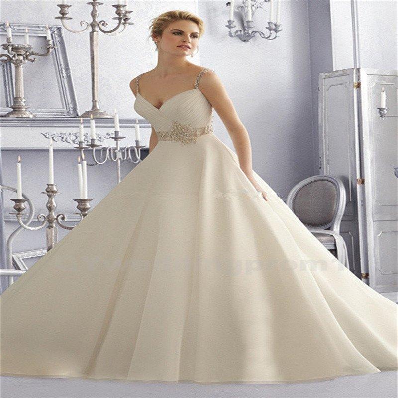 Sexy Sweetheart Spaghetti Straps High Quality Satin Wedding Dress Crystals A-Line Wedding Dress