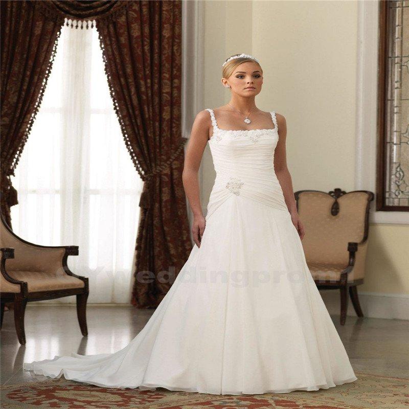 Wedding Dress A-Line Sweetheart Spaghetti Straps White Long Elegant Backless Wedding Dress
