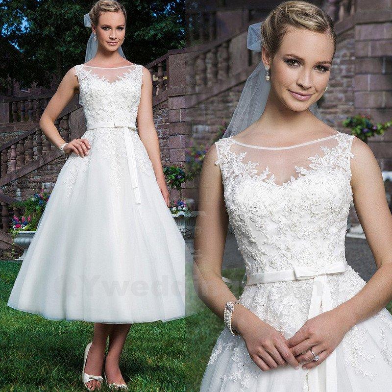 White Short Wedding Dress White Lace Wedding Bride Dress A Line Wedding Dressess