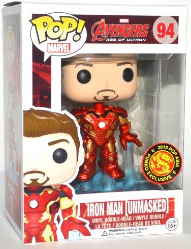 Funko Pop Marvel Avengers AOU Iron Man Unmasked Bobble Head #94 Asia Exclusive