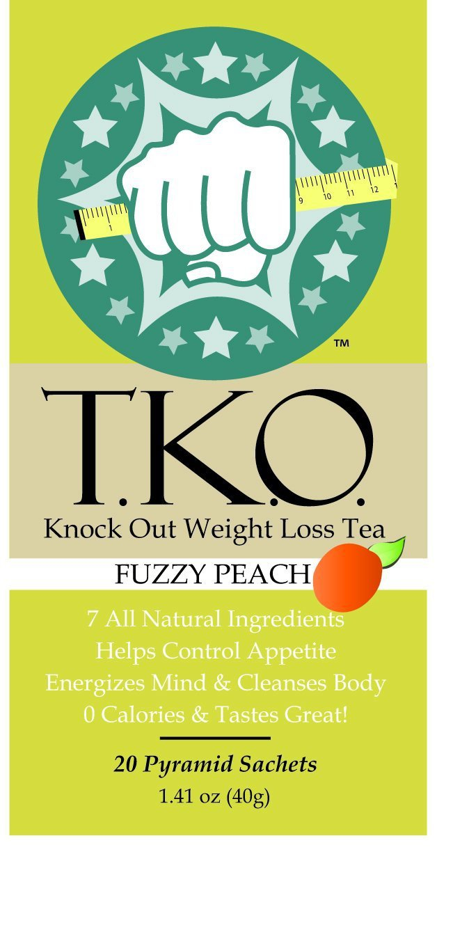 TKO Knock Out Weight Loss Tea, All Natural Dieter's Tea, Boosts Metabolism (Fuzzy Peach) 20 Sachets