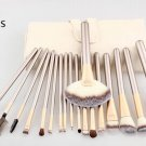 Professional 18 Pcs Champagne Gold Handle Makeup Tool Set Cosmetic Brushes Kit + Leather Pouch