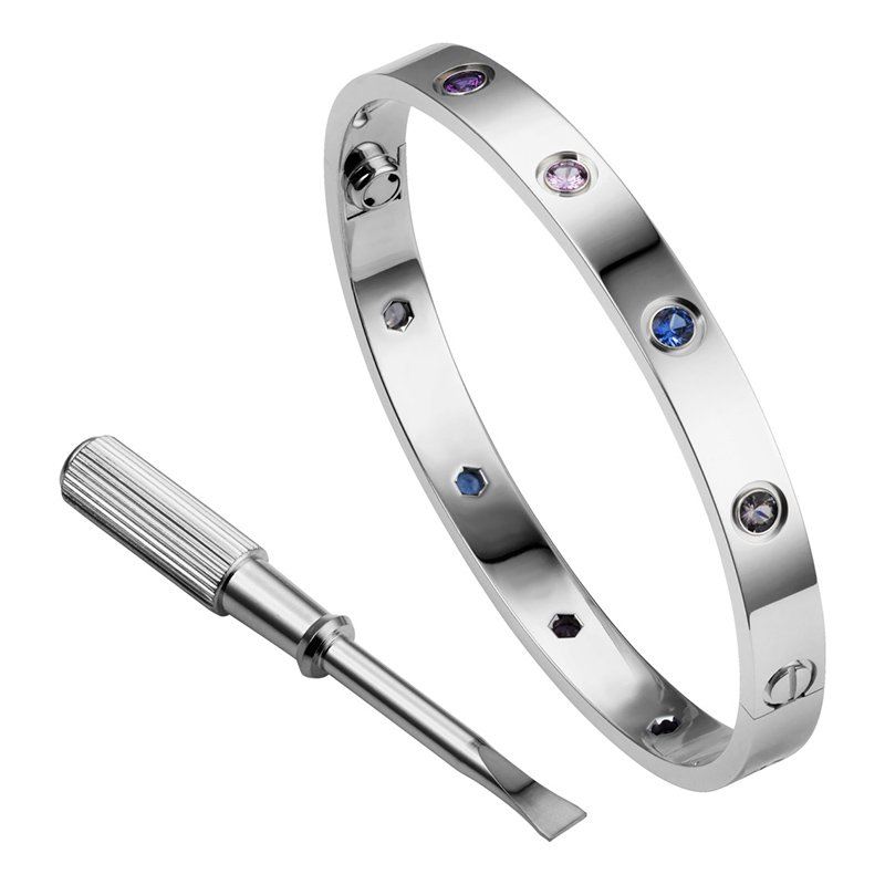 Cartier 18k White Gold Love Screwdriver Bracelet W/ Colored Gem Stones Bracelet size 16