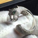 18K White Gold & Sona Diamond Panther Ring