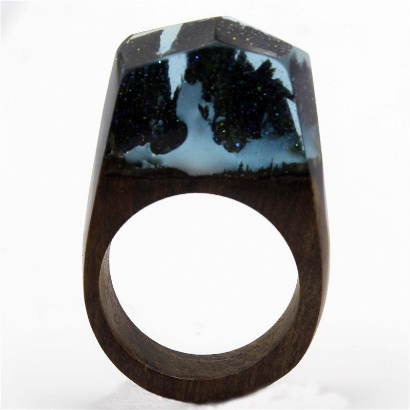 Sparkle Mountain Wood Resin Ring Women's Sizes 6-9 Endless August