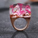Pink Flower Wood Resin Ring Women's Sizes 6-8 - Endless August