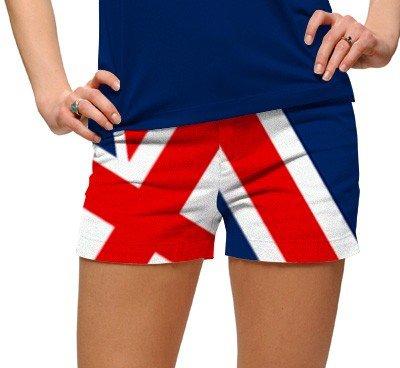 Loudmouth golf women MINI SHORTS UNION JACK Size 8 red white blue 2085