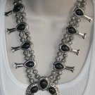Cowgirl Gypsy Black Turquoise Squash Blossom Statement Necklace and Earrings
