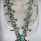 Boho Gypsy Cowgirl Blue Turquoise Squash Blossom Statement Necklace
