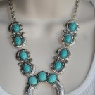 Southwestern Cowgirl Turquoise Blue Squash Blossom Tibetan Silver Necklace