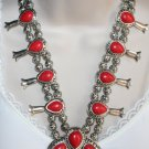 Boho Gypsy Red Turquoise Squash Blossom Statement Necklace and Earrings