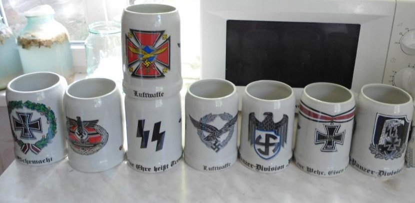 World War II Germany KIT beer glasses 8 pcs a cup, cross  #13