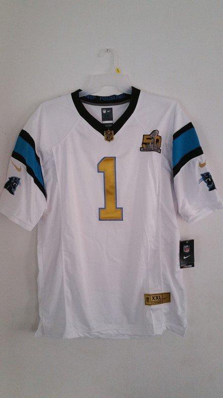 Men's Carolina Panthers Cam Newton stitch Jersey (Nike) White Super Bowl 50 - XXL-52
