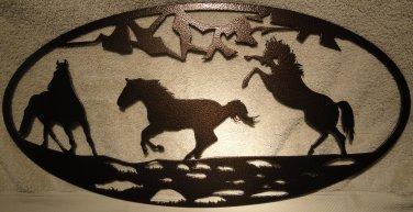 3 Horse Oval Scene Metal Wall Art Home Decor