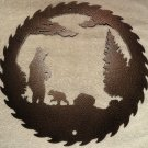 Bear and Cub Saw Blade Metal Wall Art Home Decor