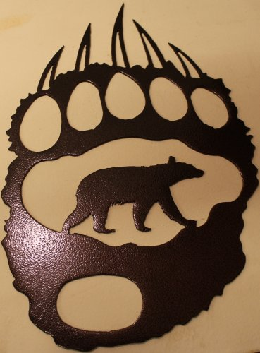 Bear Track with Bear Metal Wall Art Home Decor