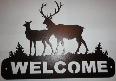 2 Elk Welcome Sign Metal Wall Art Home Decor