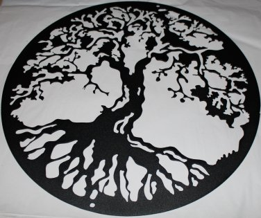 "Tree of Life Metal Wall Art Home Decor 16"" Flat Black"