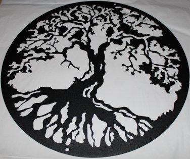 "Tree of Life Metal Wall Art Home Decor 24"" Flat Black"